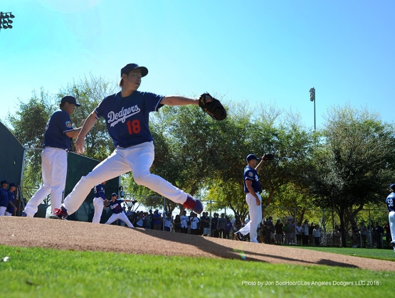 Los Angeles Dodgers Kenta Maeda throws a bullpen during workout Friday, February 26, 2016 at Camelback Ranch-Glendale in Phoenix, Arizona.