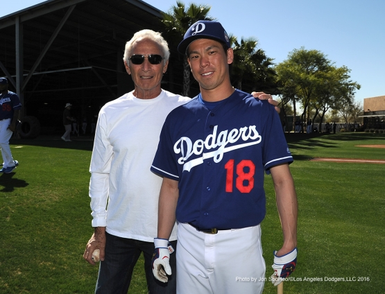 Los Angeles Dodgers Sandy Koufax and Kenta Maeda pose Friday, February 26, 2016 at Camelback Ranch-Glendale in Phoenix, Arizona.