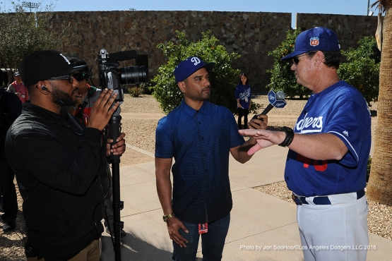 Los Angeles Dodgers Rick Honeycutt speaks to the media during workout Friday, February 26, 2016 at Camelback Ranch-Glendale in Phoenix, Arizona.
