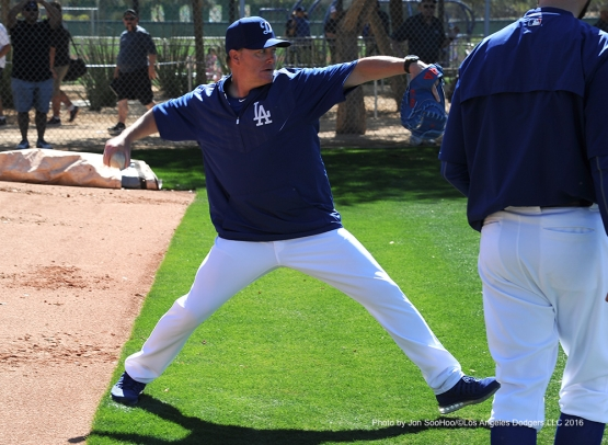 Los Angeles Dodgers Matt Herges throws during workout Friday, February 26, 2016 at Camelback Ranch-Glendale in Phoenix, Arizona.