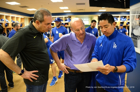 Los Angeles Dodgers Lon Rosen, Stan Kasten and Scott Akasaki workout Friday, February 26, 2016 at Camelback Ranch-Glendale in Phoenix, Arizona.