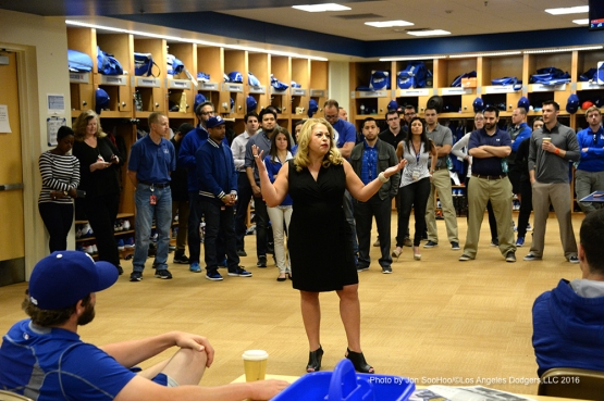 Los Angeles Dodgers Naomi Rodriguez speaks to the team during the team meeting Friday, February 26, 2016 at Camelback Ranch-Glendale in Phoenix, Arizona.