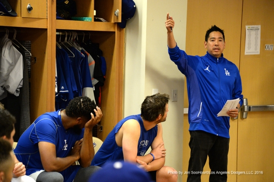 Los Angeles Dodgers Scott Akasaki speaks to the team during the team meeting Friday, February 26, 2016 at Camelback Ranch-Glendale in Phoenix, Arizona.