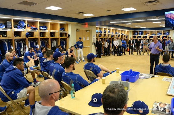 Long time Los Angeles Dodgers President Stan Kasten speaks to the team Friday, February 26, 2016 at Camelback Ranch-Glendale in Phoenix, Arizona.