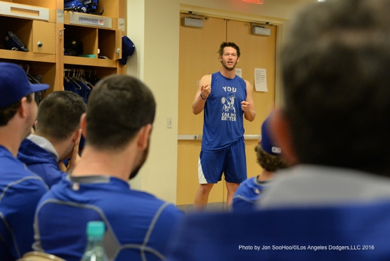 Los Angeles Dodgers Clayton Kershaw addresses the team Friday, February 26, 2016 at Camelback Ranch-Glendale in Phoenix, Arizona.