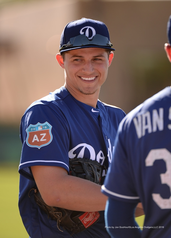 Los Angeles Dodgers Corey Seager Friday, February 26, 2016 at Camelback Ranch-Glendale in Phoenix, Arizona.