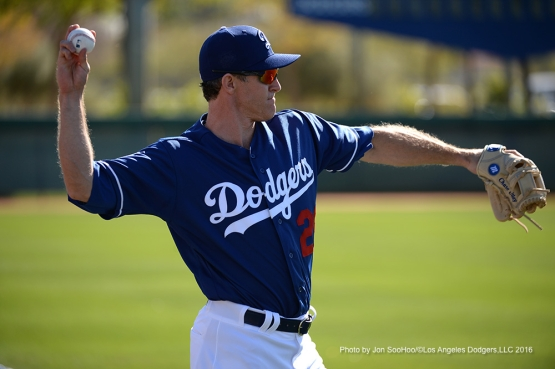 Los Angeles Dodgers Chase Utley Friday, February 26, 2016 at Camelback Ranch-Glendale in Phoenix, Arizona.