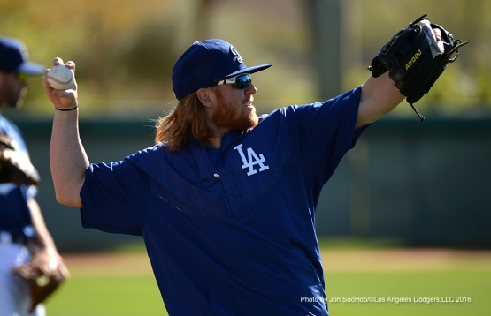 Los Angeles Dodgers Justin Turner during workout Friday, February 26, 2016 at Camelback Ranch-Glendale in Phoenix, Arizona.