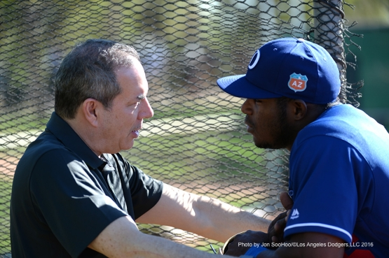 Los Angeles Dodgers Lon Rosen with Yasiel Puig during workout Friday, February 26, 2016 at Camelback Ranch-Glendale in Phoenix, Arizona.