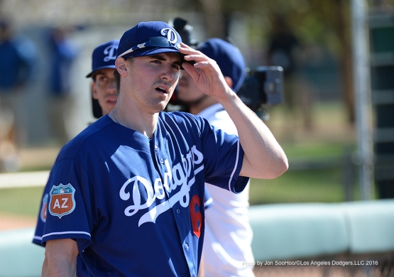 Los Angeles Dodgers Ross Stripling during workout Friday, February 26, 2016 at Camelback Ranch-Glendale in Phoenix, Arizona.