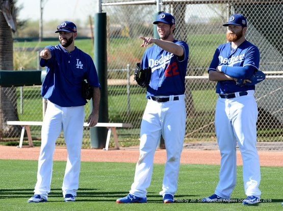 Los Angeles Dodgers Chris Hatcher, Clayton Kershaw and Brett Anderson during workout Friday, February 26, 2016 at Camelback Ranch-Glendale in Phoenix, Arizona.