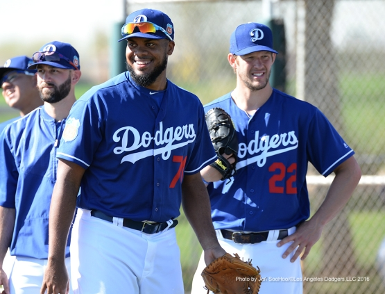 Los Angeles Dodgers Kenley Jansen and Clayton Kershaw during workout Friday, February 26, 2016 at Camelback Ranch-Glendale in Phoenix, Arizona.