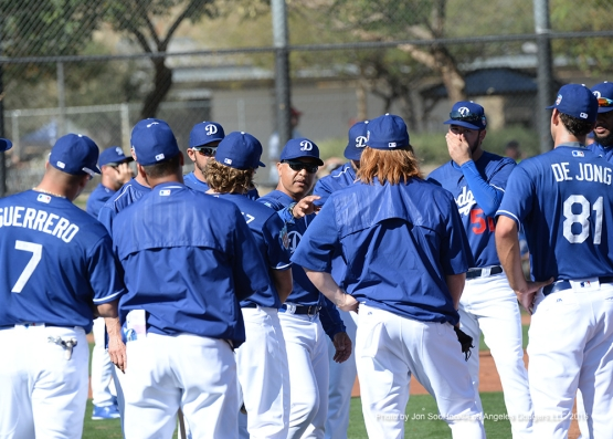 Los Angeles Dodgers Dave Roberts goes over plays Friday, February 26, 2016 at Camelback Ranch-Glendale in Phoenix, Arizona.