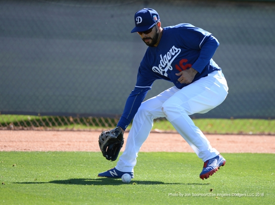 Los Angeles Dodgers Andre Ethier fields ball during workout Friday, February 26, 2016 at Camelback Ranch-Glendale in Phoenix, Arizona.