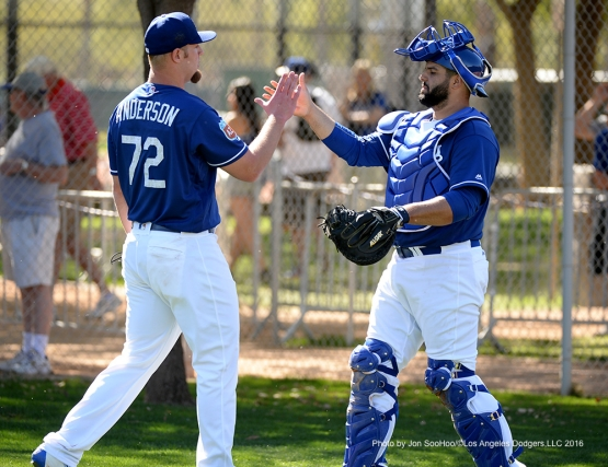 Los Angeles Dodgers Chris Anderson and Shawn Zarraga shake hands during workout Friday, February 26, 2016 at Camelback Ranch-Glendale in Phoenix, Arizona.
