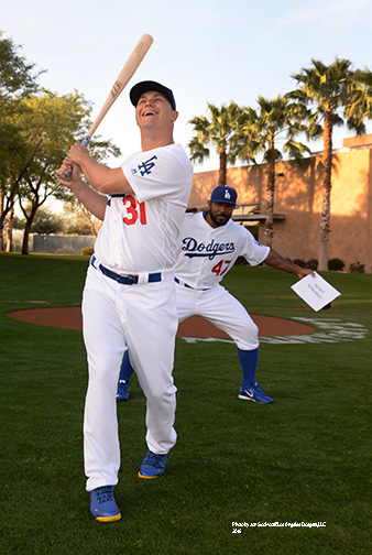 Los Angeles Dodgers Joc Pederson bombed by Howie Kendrick during photo day Saturday, February 27, 2016 at Camelback Ranch-Glendale in Phoenix, Arizona.