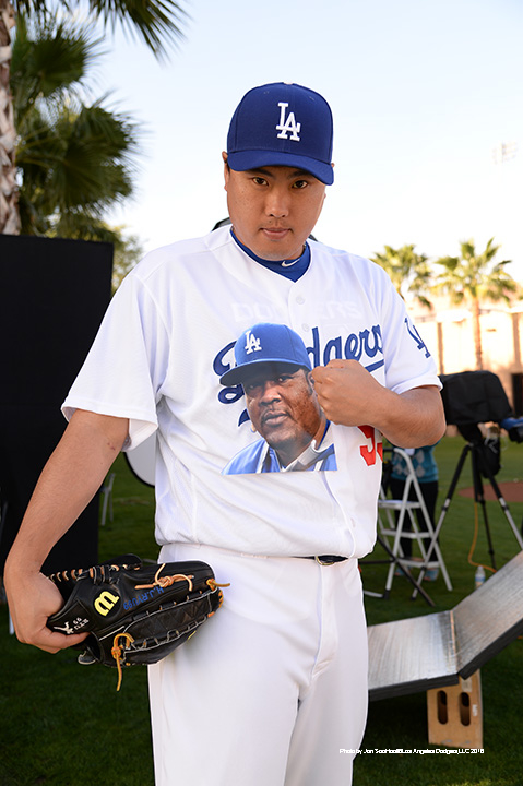 Los Angeles Dodgers Hyun-jin Ryu during photo day Saturday, February 27, 2016 at Camelback Ranch-Glendale in Phoenix, Arizona.