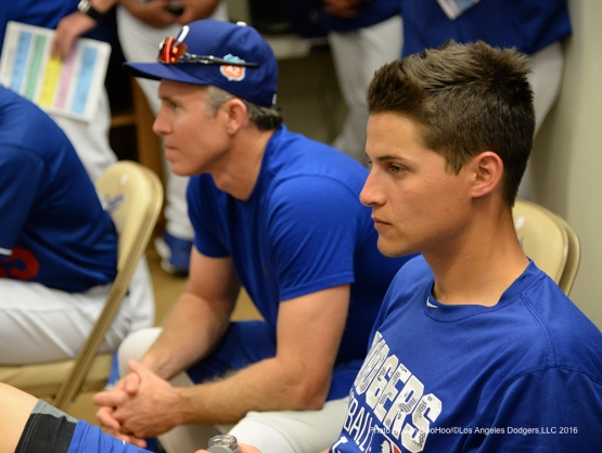 Los Angeles Dodgers Corey Seager and Chase Utley prior to workout Saturday, February 27, 2016 at Camelback Ranch-Glendale in Phoenix, Arizona.