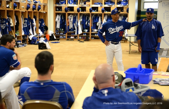 Los Angeles Dodgers Dave Roberts introduces Michah Johnson prior to workout Saturday, February 27, 2016 at Camelback Ranch-Glendale in Phoenix, Arizona.