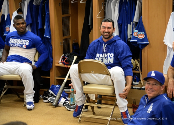 Los Angeles Dodgers Adrian Gonzalez laughs prior to workout Saturday, February 27, 2016 at Camelback Ranch-Glendale in Phoenix, Arizona.