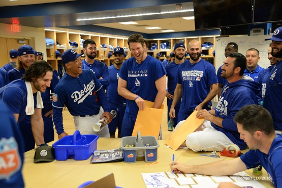 Los Angeles Dodgers ping pong tournament draw prior to workout Saturday, February 27, 2016 at Camelback Ranch-Glendale in Phoenix, Arizona.