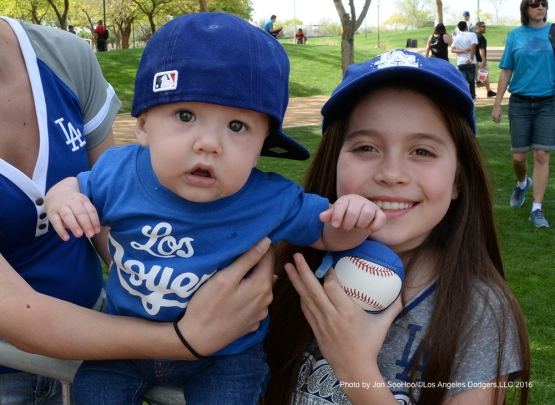 Great Los Angeles Dodgers fans during workout Saturday, February 27, 2016 at Camelback Ranch-Glendale in Phoenix, Arizona.