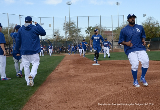 Los Angeles Dodgers workout Saturday, February 27, 2016 at Camelback Ranch-Glendale in Phoenix, Arizona.