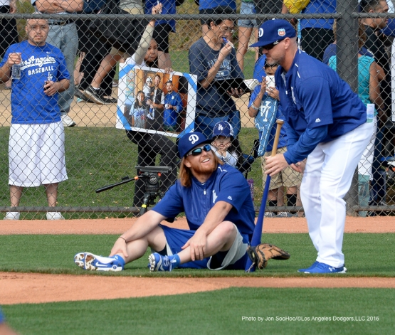 Los Angeles Dodgers Justin Turner during workout Saturday, February 27, 2016 at Camelback Ranch-Glendale in Phoenix, Arizona.
