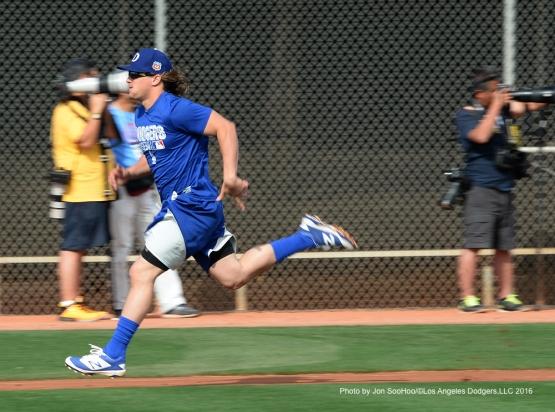 Los Angeles Dodgers Kike Hernandez during workout Saturday, February 27, 2016 at Camelback Ranch-Glendale in Phoenix, Arizona.