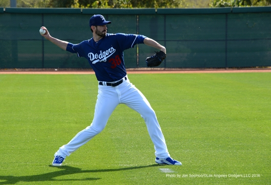 Los Angeles Dodgers Brandon McCarthy during workout Saturday, February 27, 2016 at Camelback Ranch-Glendale in Phoenix, Arizona.