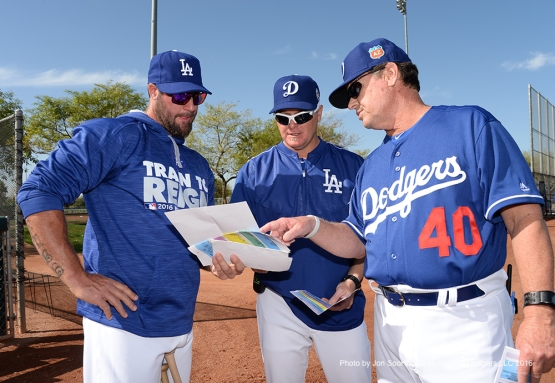 Los Angeles Dodgers Eric Gagne, Matt Herges and  Rick Honeycutt during workout Saturday, February 27, 2016 at Camelback Ranch-Glendale in Phoenix, Arizona.