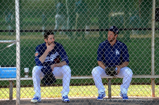 Los Angeles Dodgers Brandon McCarthy and Clayton Kershaw during workout Saturday, February 27, 2016 at Camelback Ranch-Glendale in Phoenix, Arizona.