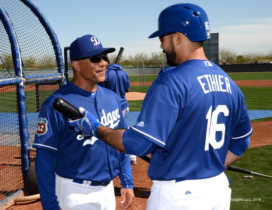 Los Angeles Dodgers Dave Roberts and Andre Ethier during workout Saturday, February 27, 2016 at Camelback Ranch-Glendale in Phoenix, Arizona.