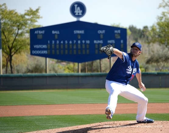 Los Angeles Dodgers Clayton Kershaw during workout Saturday, February 27, 2016 at Camelback Ranch-Glendale in Phoenix, Arizona.