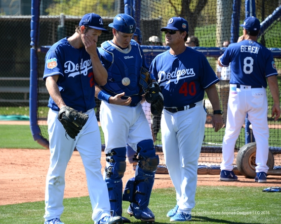 Los Angeles Dodgers Clayton Kershaw, A.J. Ellis and Rick Honeycutt during workout Saturday, February 27, 2016 at Camelback Ranch-Glendale in Phoenix, Arizona.