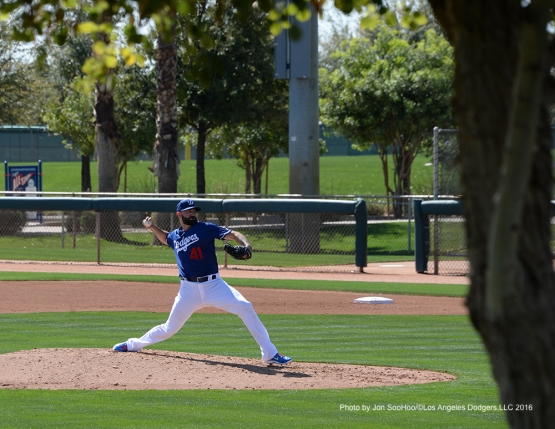 Los Angeles Dodgers Chris Hatcher during workout Saturday, February 27, 2016 at Camelback Ranch-Glendale in Phoenix, Arizona.