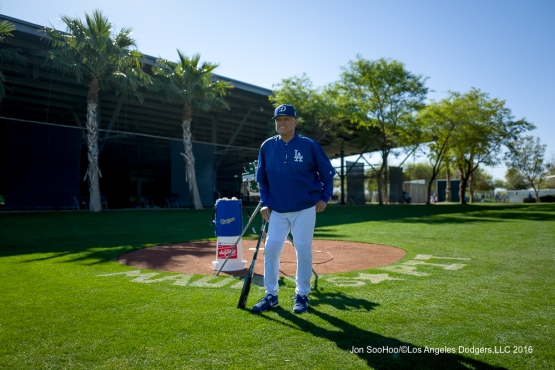 Los Angeles Dodgers Maury Wills poses during workout Sunday, February 28, 2016 at Camelback Ranch-Glendale in Phoenix, Arizona.