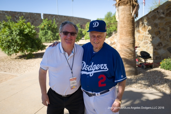 Los Angeles Dodgers  Steve Brener and Tommy Lasorda pose during workout Sunday, February 28, 2016 at Camelback Ranch-Glendale in Phoenix, Arizona.