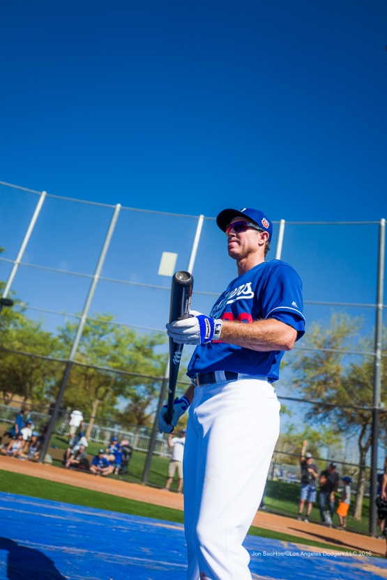 Los Angeles Dodgers Chase Utley during workout Sunday, February 28, 2016 at Camelback Ranch-Glendale in Phoenix, Arizona.