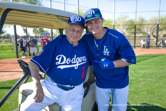 Los Angeles Dodgers Tommy Lasorda and Joc Pederson pose during workout Sunday, February 28, 2016 at Camelback Ranch-Glendale in Phoenix, Arizona.
