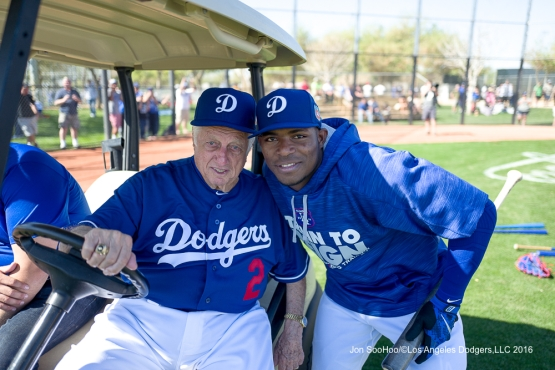 Los Angeles Dodgers Tommy Lasorda and Yasiel Puig pose during workout Sunday, February 28, 2016 at Camelback Ranch-Glendale in Phoenix, Arizona.