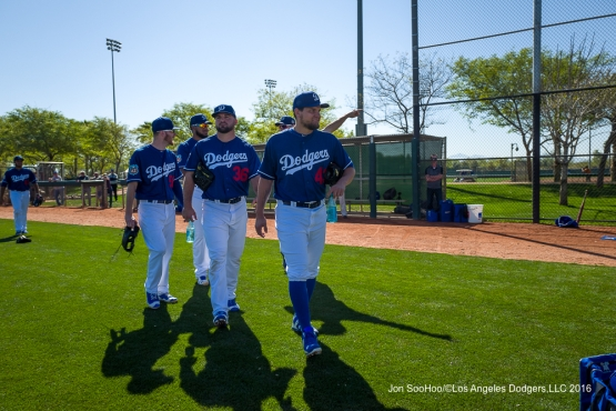 Los Angeles Dodgers lefties Luis Avilan, Adam Liberatore and JP Howell during workout Sunday, February 28, 2016 at Camelback Ranch-Glendale in Phoenix, Arizona.