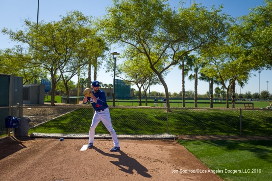 Los Angeles Dodgers Louis Coleman pitches during workout Sunday, February 28, 2016 at Camelback Ranch-Glendale in Phoenix, Arizona.