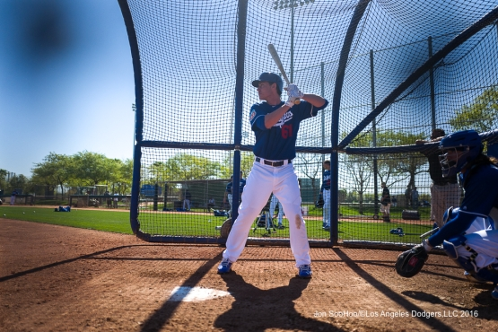 @Cody_Bellinger hits during workout Sunday, February 28, 2016 at Camelback Ranch-Glendale in Phoenix, Arizona.