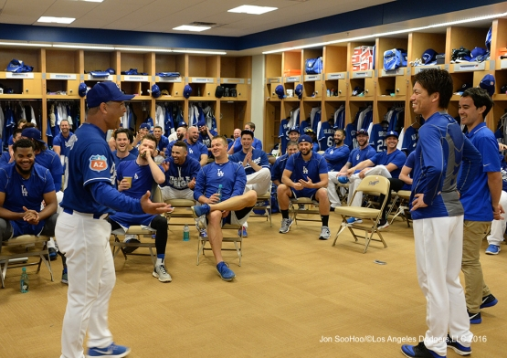 Los Angeles Dodgers Kenta Maeda addresses the team prior to  workout Sunday, February 28, 2016 at Camelback Ranch-Glendale in Phoenix, Arizona.