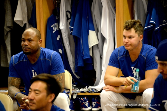 Los Angeles Dodgers Carl Crawford and Joc Pederson prior to workout Sunday, February 28, 2016 at Camelback Ranch-Glendale in Phoenix, Arizona.