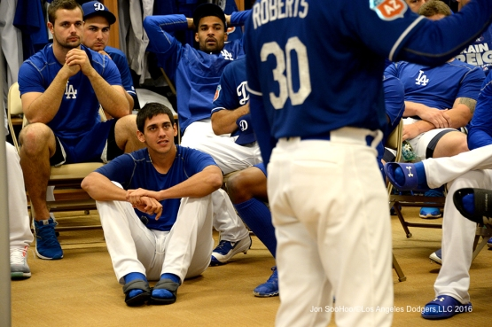 Los Angeles Dodgers Jose De Leon during the team meeting prior to workout Sunday, February 28, 2016 at Camelback Ranch-Glendale in Phoenix, Arizona.