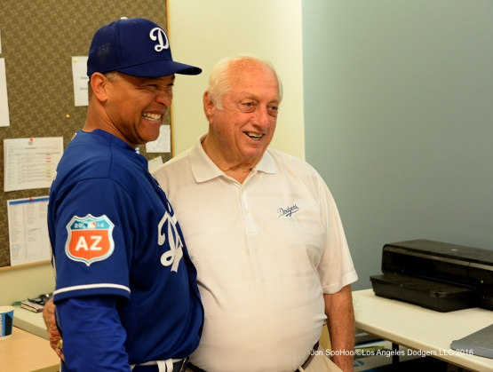 Los Angeles Dodgers Dave Roberts with Tommy Lasorda prior to workout Sunday, February 28, 2016 at Camelback Ranch-Glendale in Phoenix, Arizona.