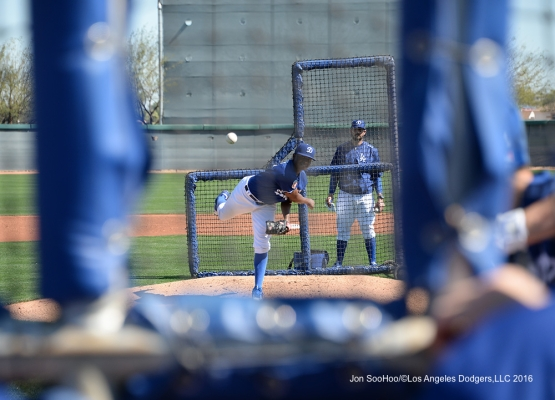 Los Angeles Dodgers Jharel Cotton pitches during workout Sunday, February 28, 2016 at Camelback Ranch-Glendale in Phoenix, Arizona.