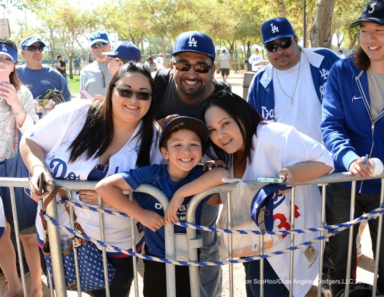 Great Los Angeles Dodgers fans during workout Sunday, February 28, 2016 at Camelback Ranch-Glendale in Phoenix, Arizona.